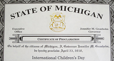 Governor Granholm proclaims April 23 as International Children's Day