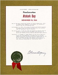 Proclamation of Atatürk Day by the city of Detroit - 10/15/1981