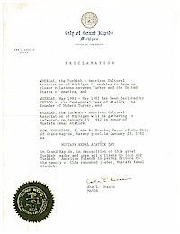 Proclamation of Atatürk Day by the city of Grand Rapids - 01/23/1982