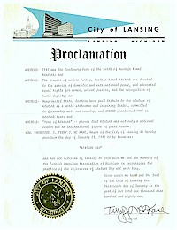 Proclamation of Atatürk Day by the city of Lansing - 01/23/1982