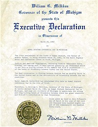 Proclamation of Centennial Atatürk Day by Michigan Governor William Milliken - 03/20/1982