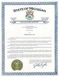 Proclamation of Republic Day by Michigan Governor John Engler - 10/29/1999