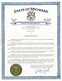 Proclamation of Republic Day by Michigan Governor John Engler - 10/29/2000