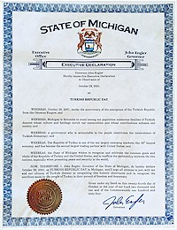 Proclamation of Republic Day by Michigan Governor John Engler - 10/29/2001