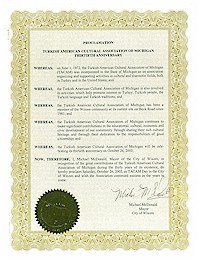 Recognition of TACAM's 30th Anniversary by the city of Wixom - 10/26/2002