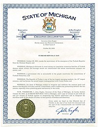 Proclamation of Republic Day by Michigan Governor John Engler - 10/29/2002