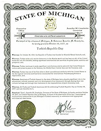 Proclamation of Republic Day by Michigan Governor Jennifer Granholm - 10/29/2007