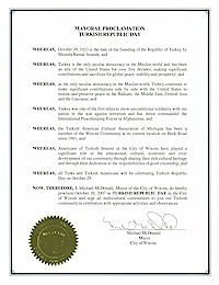 Proclamation of Republic Day by the city of Wixom - 10/29/2007