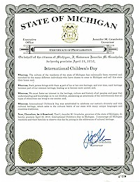 Proclamation of International Children's Day by by Michigan Governor Jennifer Granholm - 04/23/2010