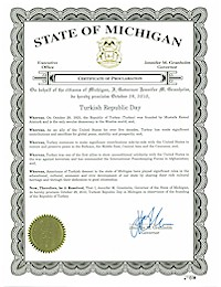 Proclamation of Republic Day by Michigan Governor Jennifer Granholm - 10/29/2010
