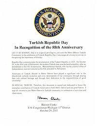 Proclamation of Republic Day by the US Congressman Hansen Clarke - 10/29/2011