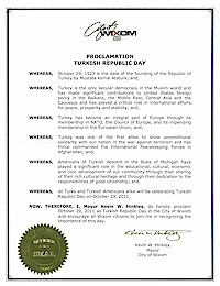 Proclamation of Republic Day by the city of Wixom - 10/29/2011