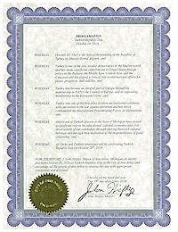 Proclamation of Republic Day by the city of AnnArbor - 10/29/2014