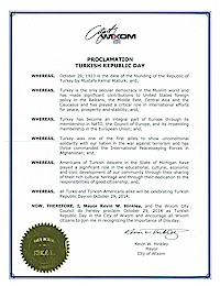 Proclamation of Republic Day by the city of Wixom - 10/29/2014