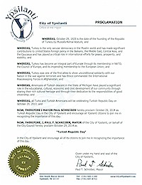 Proclamation of Republic Day by the city of Ypsilanti - 10/29/2014