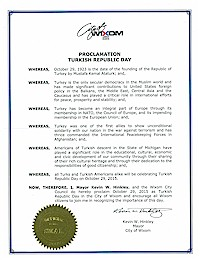 Proclamation of Republic Day by the city of Wixom - 10/29/2015