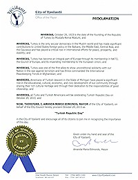 Proclamation of Republic Day by the city of Ypsilanti - 10/29/2015