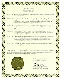 Proclamation of Republic Day by the city of AnnArbor - 10/29/2016