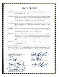 Proclamation of Republic Day by the city of Wixom - 10/29/2017