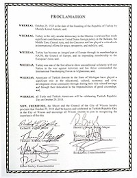 Proclamation of Republic Day by the city of Wixom - 10/29/2018