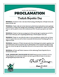 Proclamation of Republic Day by the city of Detroit - 10/29/2019