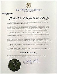 Proclamation of Republic Day by the city of Grand Rapids - 10/29/2019