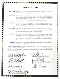 Proclamation of Republic Day by the city of Wixom - 10/29/2019