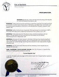 Proclamation of Republic Day by the city of Ypsilanti - 10/29/2019