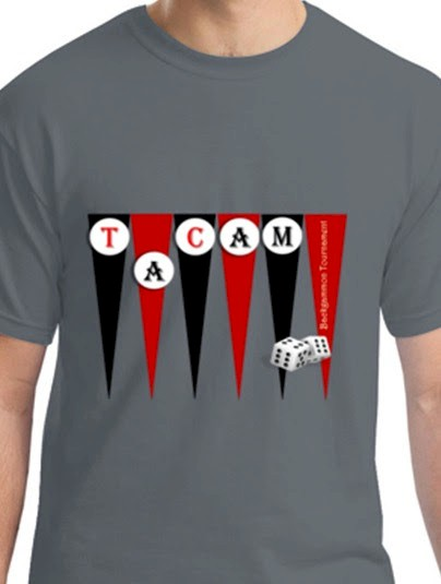 mosaic of images showing a breakfast table and TACAM tshirt with backgammon game design