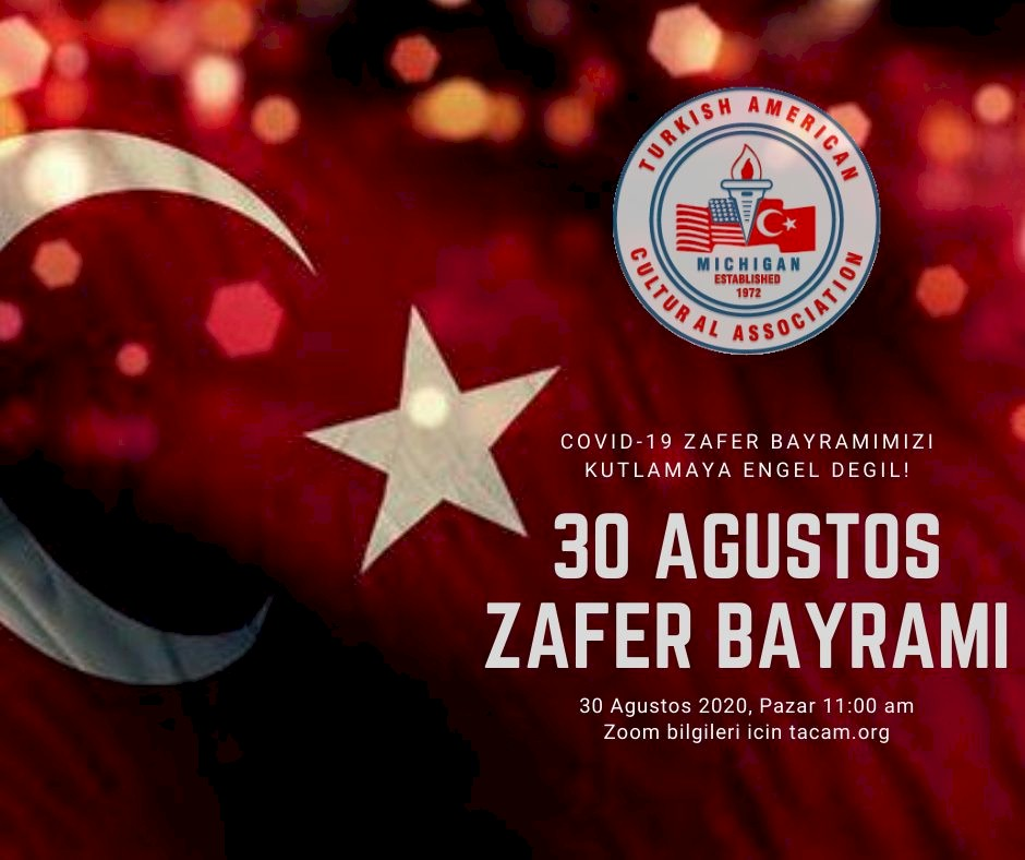 30 Agustos Zafer Bayrami with a turkish flag in the background